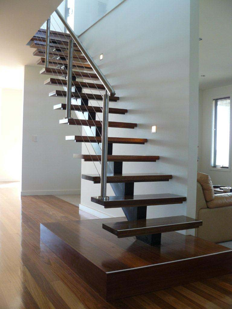 Staircase Modern Steel Stringer Stainless Steel Wire Balustrade on traditional home interior design
